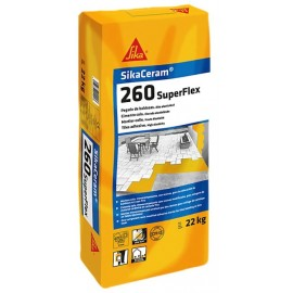 Adhesivo para la colocación de piezas cerámicas en capa fina [SikaCeram 260 SuperFlex]