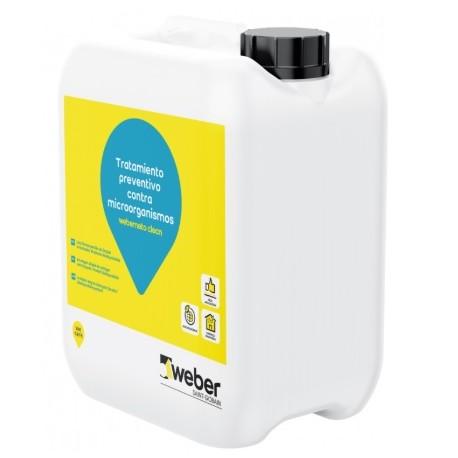 Solución líquida muy eficaz como preventivo de bacterias, hongos y algas en fachadas y terrazas - Weberneto Clean