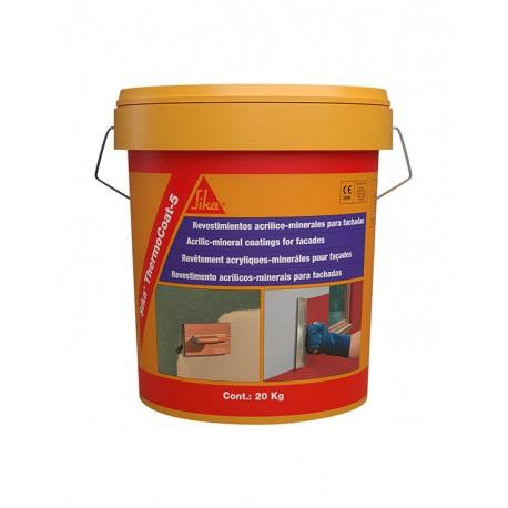 SIKA THERMOCOAT 5 ES TF - Revestimiento acrílico-mineral para la impermeabilización y decoración de fachadas, acabado fino.