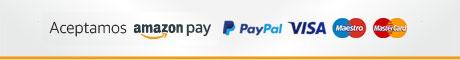 Aceptamos Amazon Pay, Paypal, Visa, Maestro y Mastercard